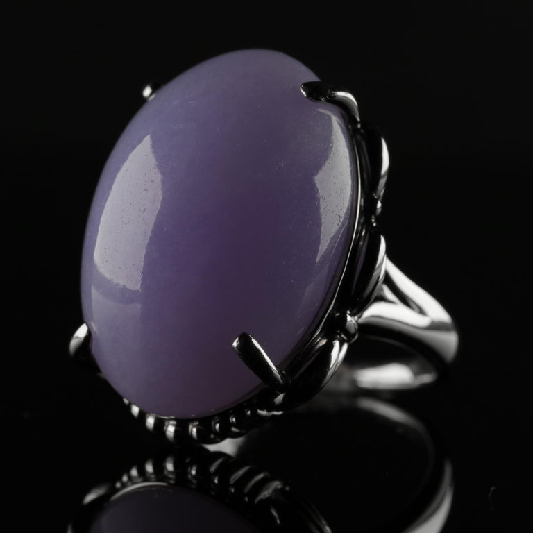 Lavender Jade Ring in Platinum Certified Untreated, Rare For Sale 7