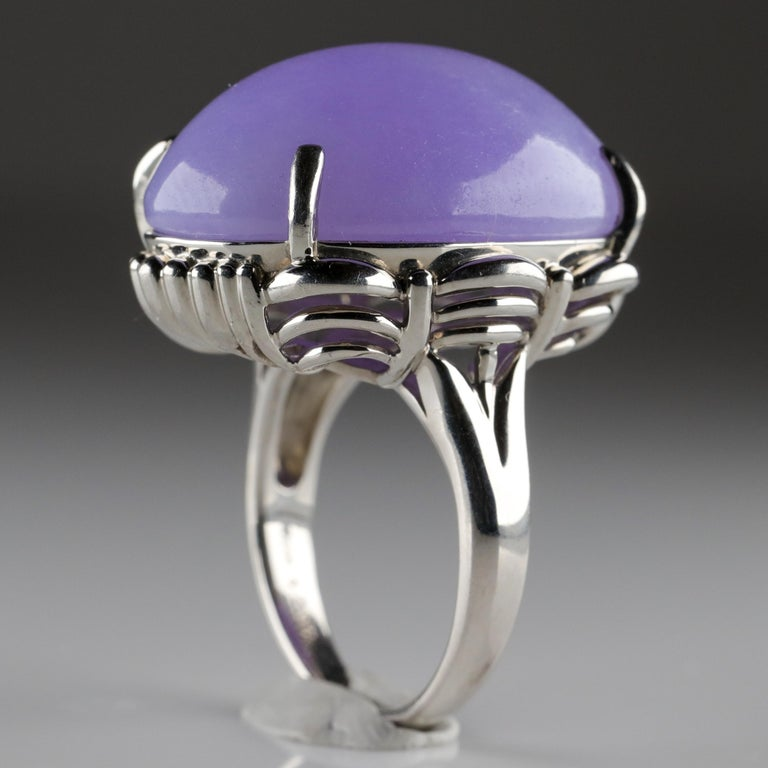 Women's or Men's Lavender Jade Ring in Platinum Certified Untreated, Rare For Sale