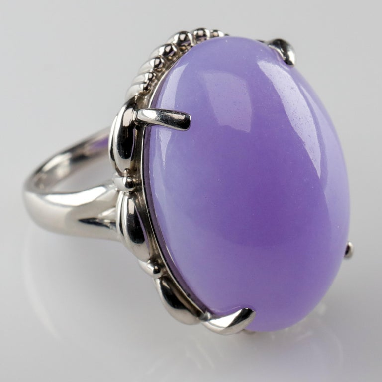 Lavender Jade Ring in Platinum Certified Untreated, Rare For Sale 3