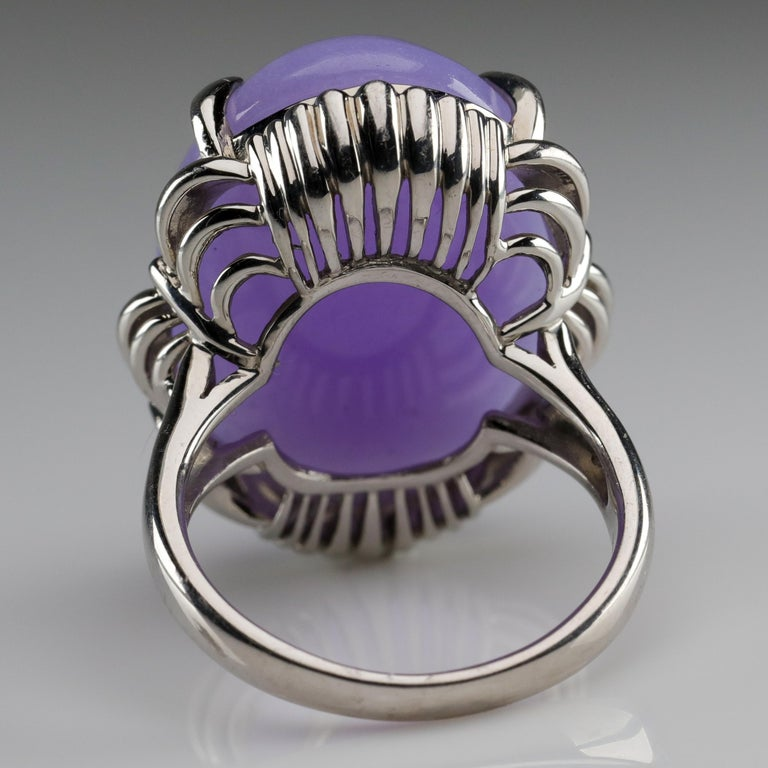 Lavender Jade Ring in Platinum Certified Untreated, Rare For Sale 4