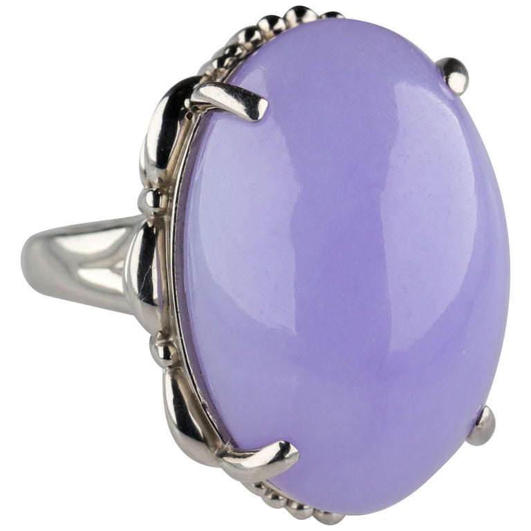 Lavender Jade Ring in Platinum Certified Untreated, Rare For Sale