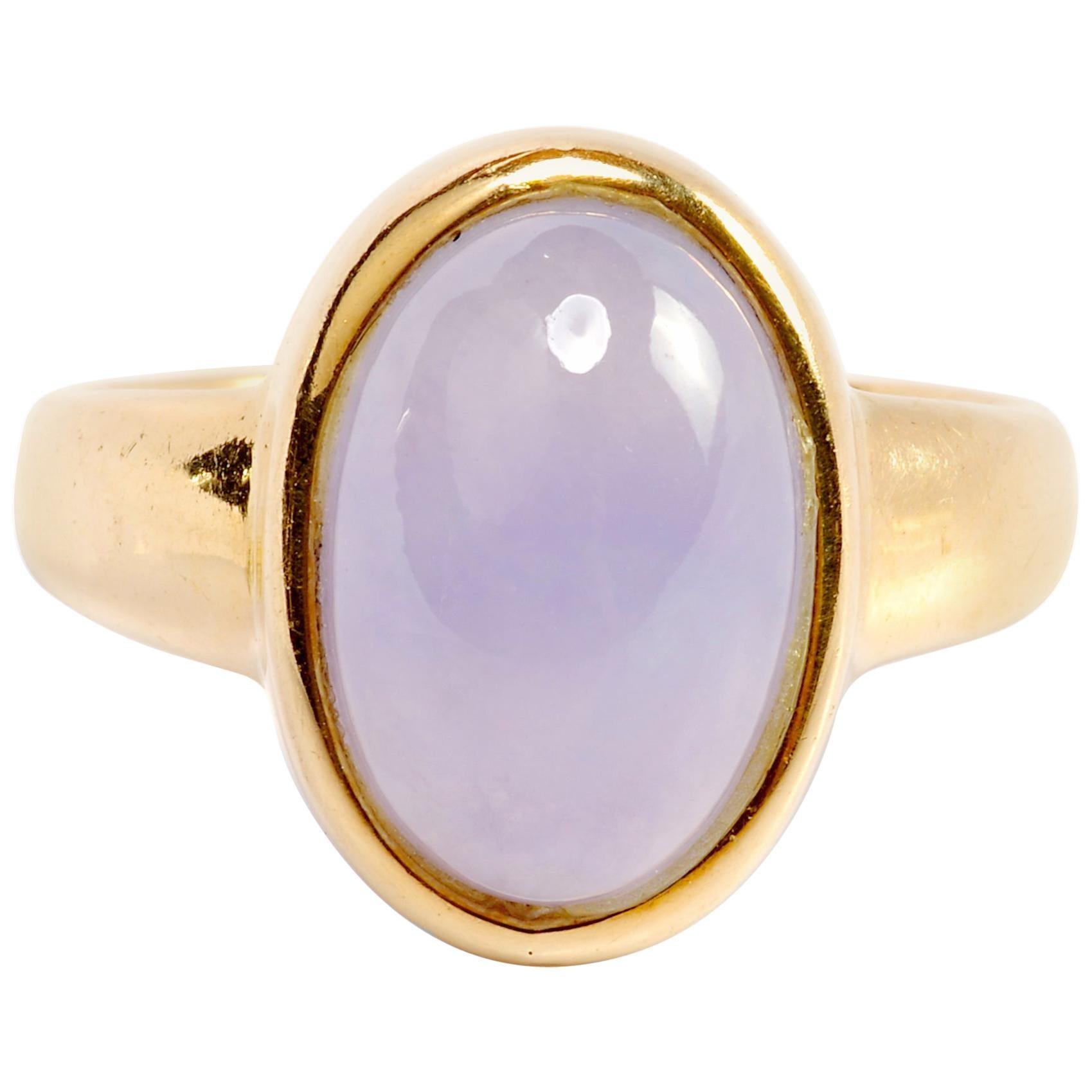 Lavender Jade Ring Midcentury English Certified Untreated