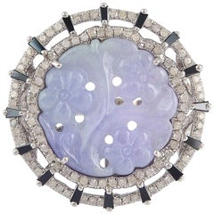 Lavender Jade Ring with Round and Baguette Diamonds