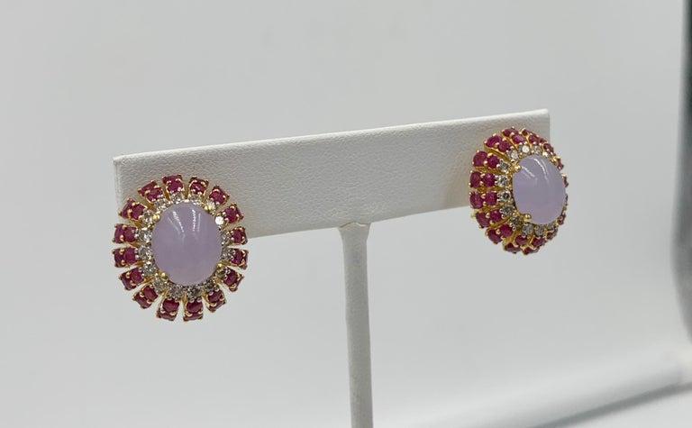 Lavender Jade Ruby 64 Diamond Necklace Earrings 17 Carat Jade Ring Suite Parure For Sale 4