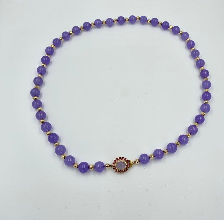 Lavender Jade Ruby 64 Diamond Necklace Earrings 17 Carat Jade Ring Suite Parure For Sale 7