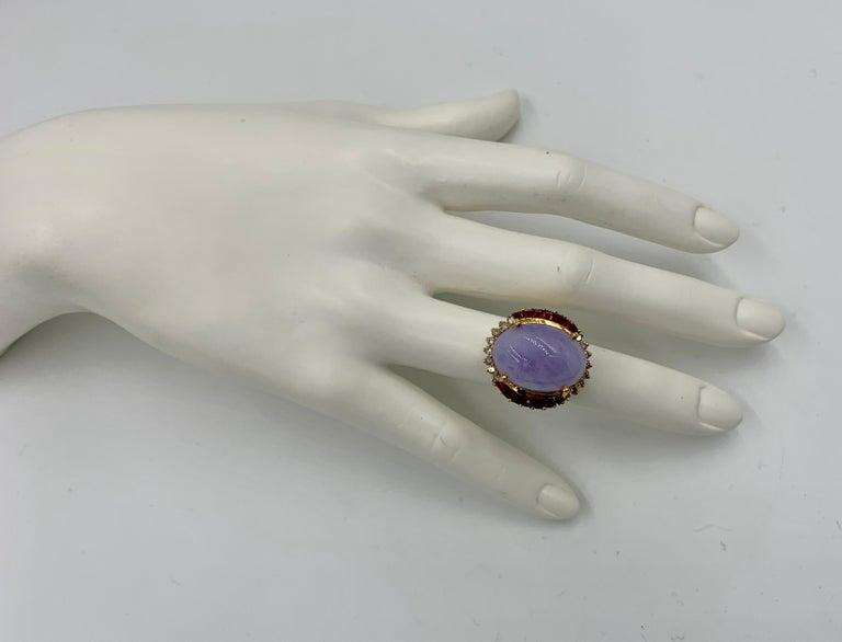 Lavender Jade Ruby 64 Diamond Necklace Earrings 17 Carat Jade Ring Suite Parure For Sale 9