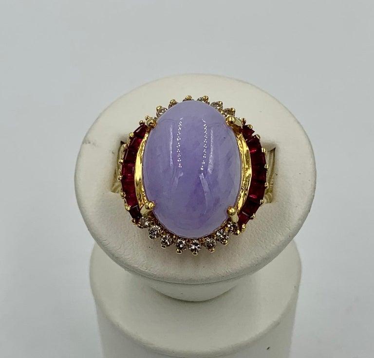 Lavender Jade Ruby 64 Diamond Necklace Earrings 17 Carat Jade Ring Suite Parure For Sale 11