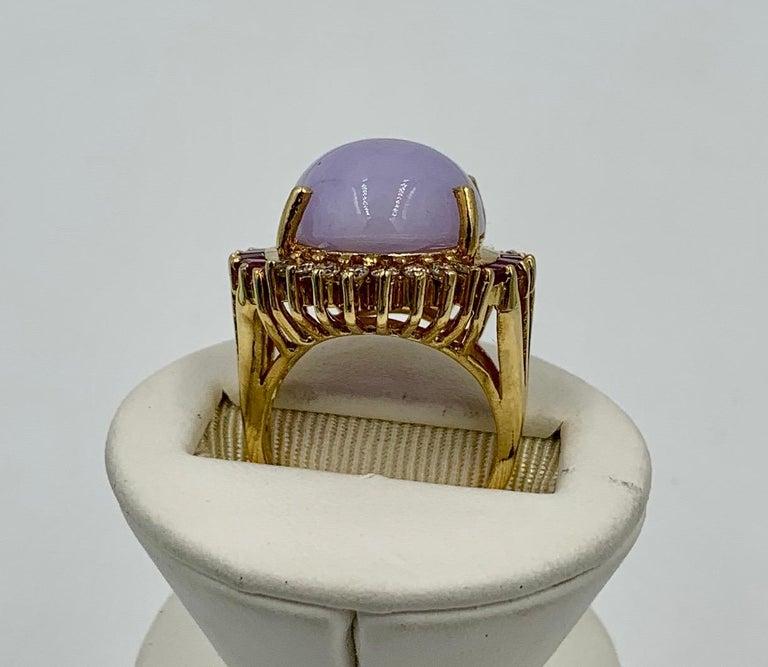 Lavender Jade Ruby 64 Diamond Necklace Earrings 17 Carat Jade Ring Suite Parure For Sale 12