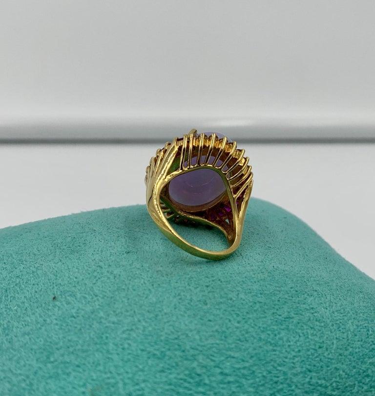 Lavender Jade Ruby 64 Diamond Necklace Earrings 17 Carat Jade Ring Suite Parure For Sale 13