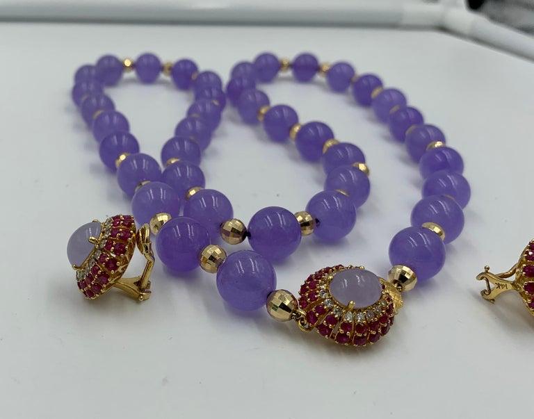 Lavender Jade Ruby 64 Diamond Necklace Earrings 17 Carat Jade Ring Suite Parure For Sale 14