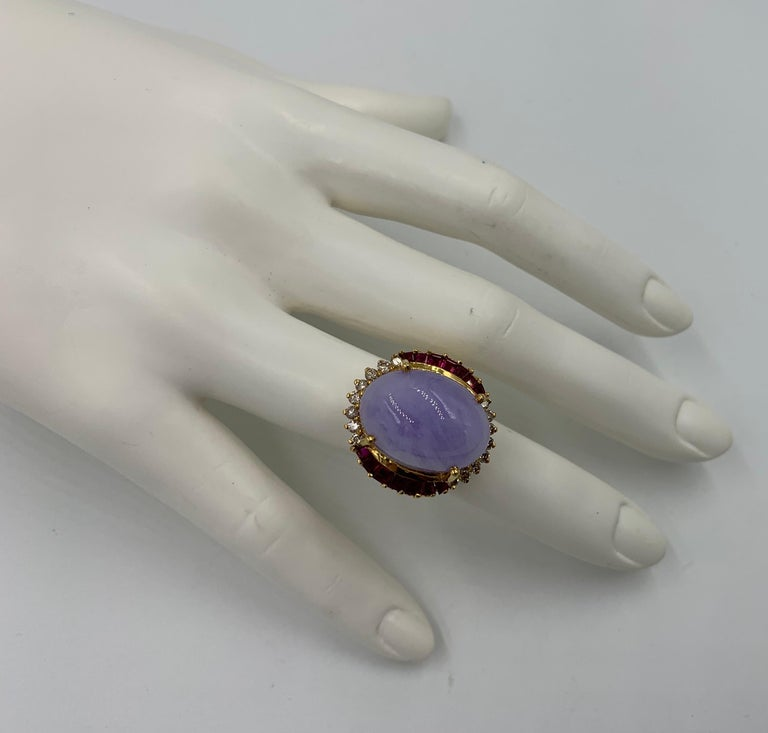 Oval Cut Lavender Jade Ruby 64 Diamond Necklace Earrings 17 Carat Jade Ring Suite Parure For Sale