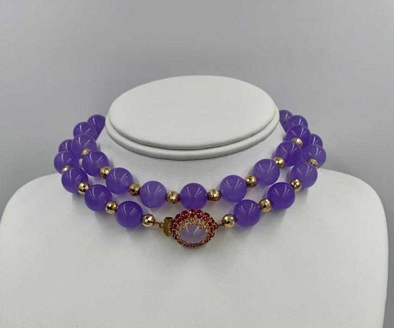 Lavender Jade Ruby 64 Diamond Necklace Earrings 17 Carat Jade Ring Suite Parure In Good Condition For Sale In New York, NY