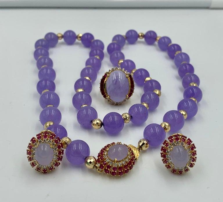 Women's Lavender Jade Ruby 64 Diamond Necklace Earrings 17 Carat Jade Ring Suite Parure For Sale