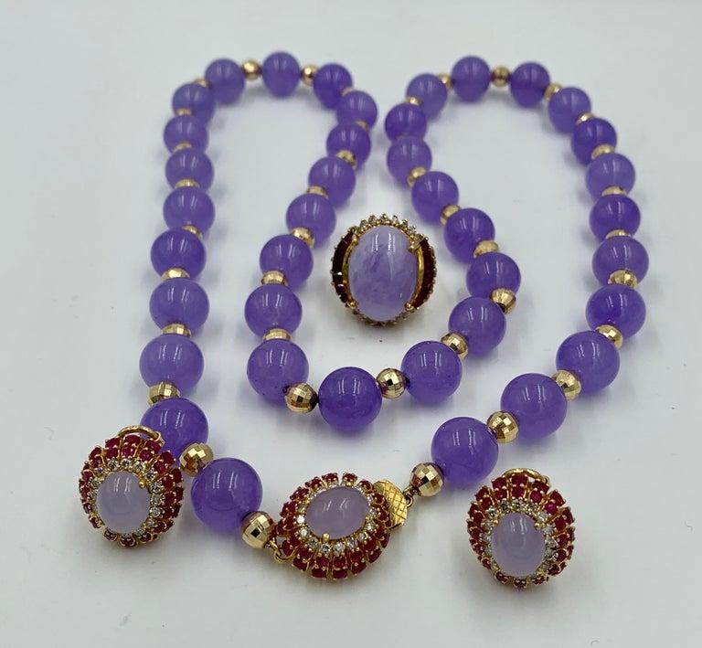Lavender Jade Ruby 64 Diamond Necklace Earrings 17 Carat Jade Ring Suite Parure For Sale 1