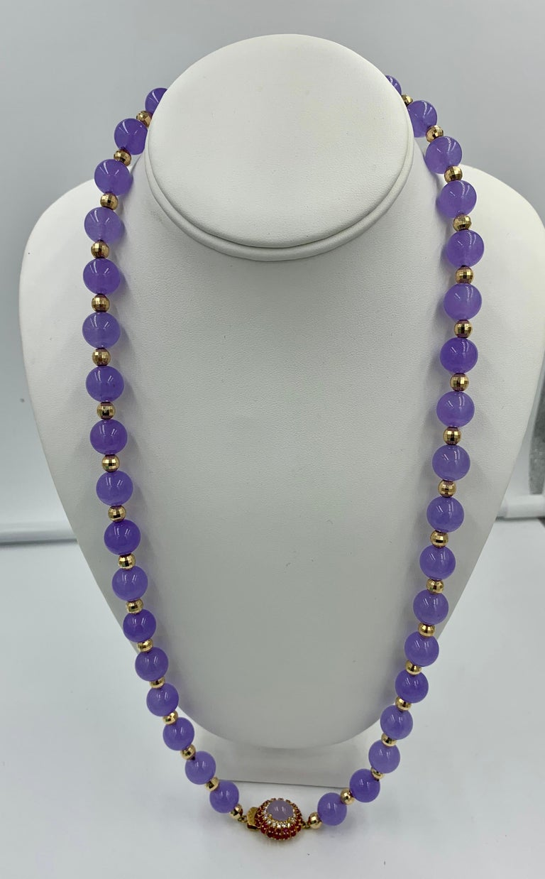 Lavender Jade Ruby 64 Diamond Necklace Earrings 17 Carat Jade Ring Suite Parure For Sale 2
