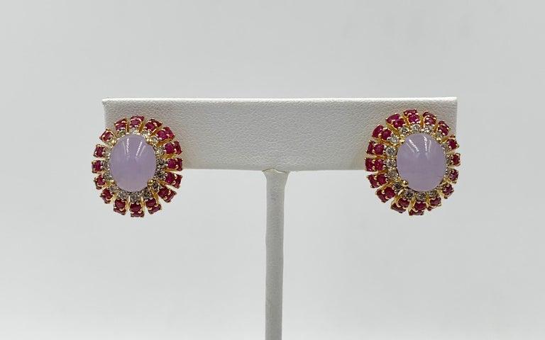 Lavender Jade Ruby 64 Diamond Necklace Earrings 17 Carat Jade Ring Suite Parure For Sale 3
