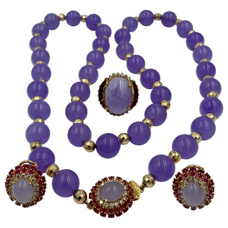 Lavender Jade Ruby 64 Diamond Necklace Earrings 17 Carat Jade Ring Suite Parure For Sale