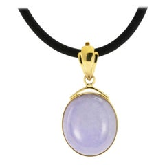 Lavender Jade Yellow Gold Enhancer Pendant