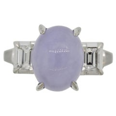 Lavender Jadeite Jade Diamond Platinum 3-Stone Ring