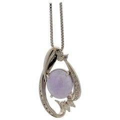 Lavender Jadeite Jade Diamond Platinum Pendant