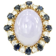 Lavender Jadeite with Diamond and Sapphire Yellow Gold Ring