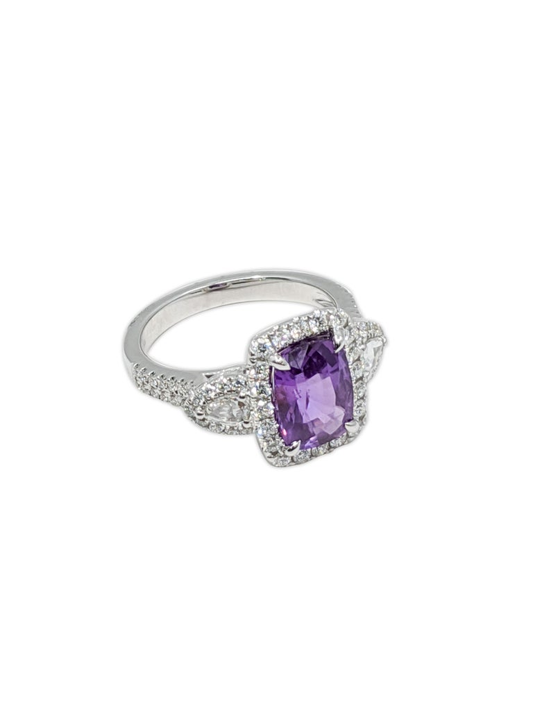 Cushion Cut Lavender Natural Sapphire 'No Heat' White Diamond Ring '18 Carat' For Sale