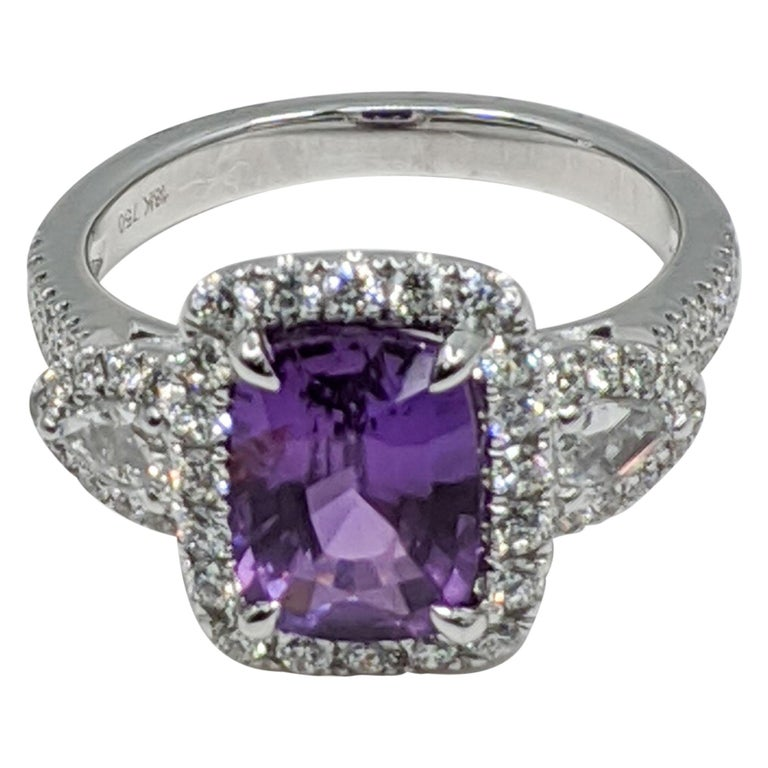Lavender Natural Sapphire 'No Heat' White Diamond Ring '18 Carat' For Sale
