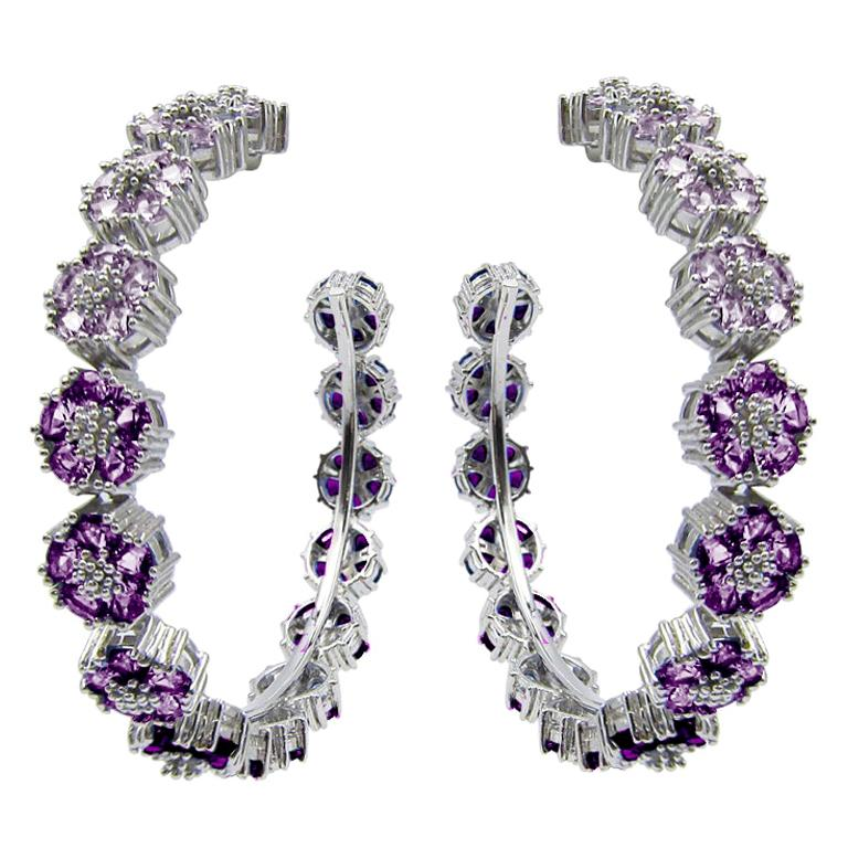 Amethyst Ombre Blossom Gentile Large Gemstone Hoops