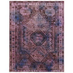 Lavender Overdyed and Vintage Worn Down Persian Shiraz Clean Pure Wool Oriental