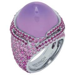 Lavender Quartz 25.63 Carat Pink Sapphires 18 Karat White Gold Fuji Ring