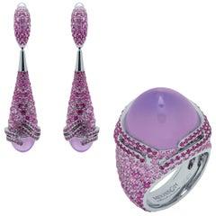 Lavender Quartz Pink Sapphires 18 Karat White Gold Fuji Suite