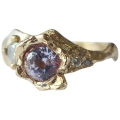 Lavender Sapphire and Diamond Asymmetrical Ring