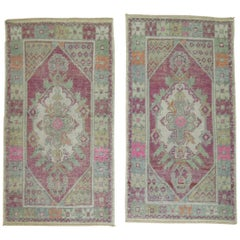 Lavender Set of Wool Square 20th Century Turkish Scatter Size Rugs