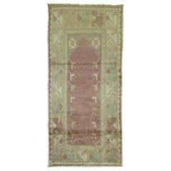 Lavender Vintage Turkish Anatolian Scatter Rug, Mid-20th Century