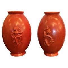 Laveno Angelo Biancini Maiolica Terracotta Vase, Italy, 1930