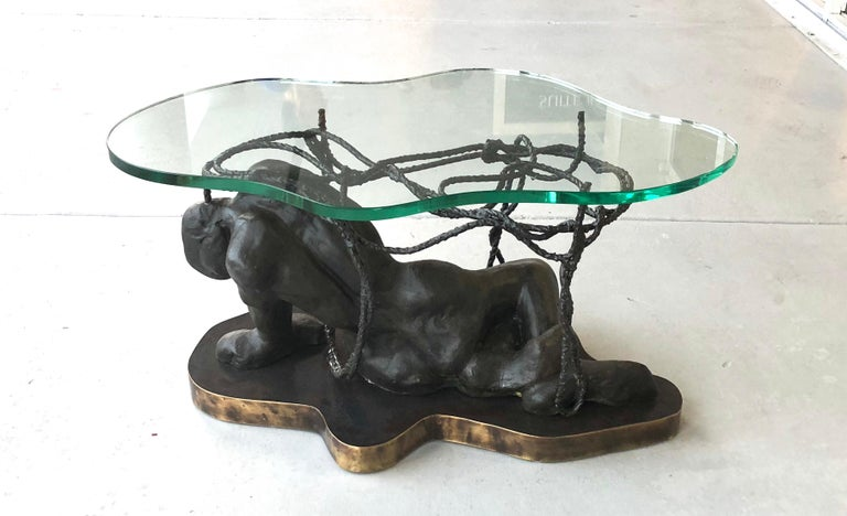 Late 20th Century Laverne Bronze Sculpture Coffee Table