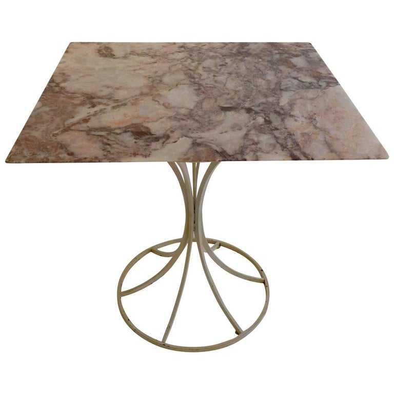 Laverne International Flower Stem Table with Marble Top For Sale