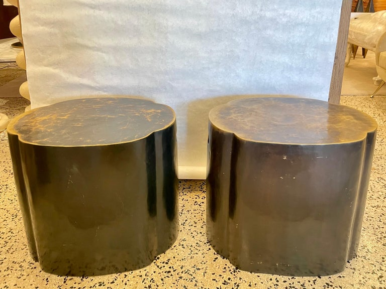 Mid-20th Century LaVerne Style Bronze Oval Side Tables, Pair For Sale