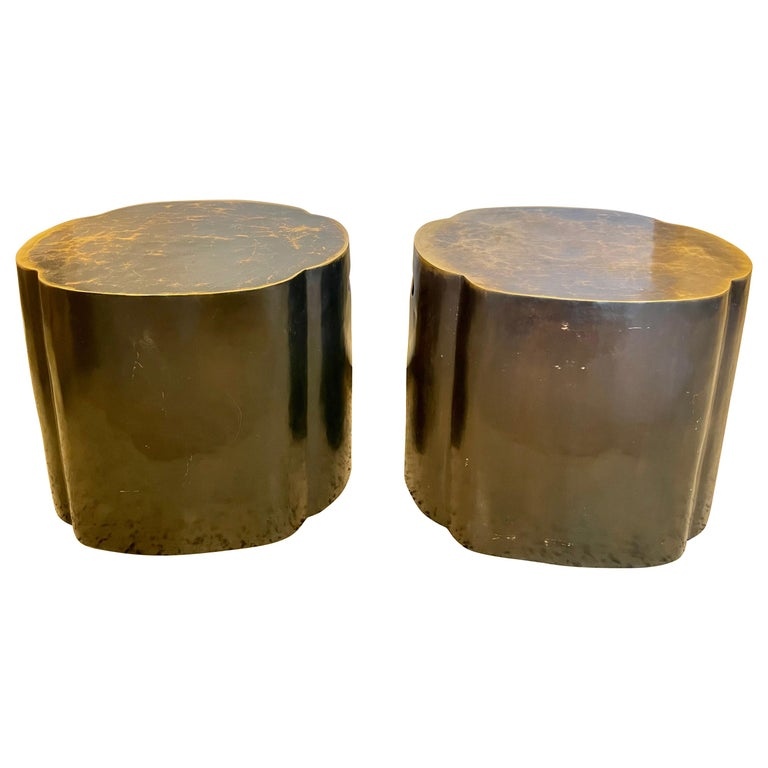 LaVerne Style Bronze Oval Side Tables, Pair For Sale