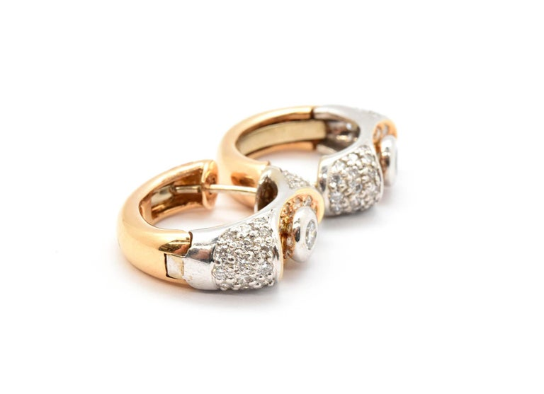 Round Cut Lavin 18 Karat White and Rose Gold Diamond Huggie Earrings 1.20 Carat For Sale