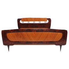 Lavish Italian Exotic Burl Wood Bed by Osvaldo Borsani Milan, Italy, 1950s