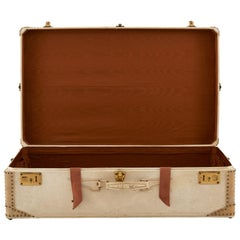Lavoët Cream Leather Valise Suitcase with Satin Lining