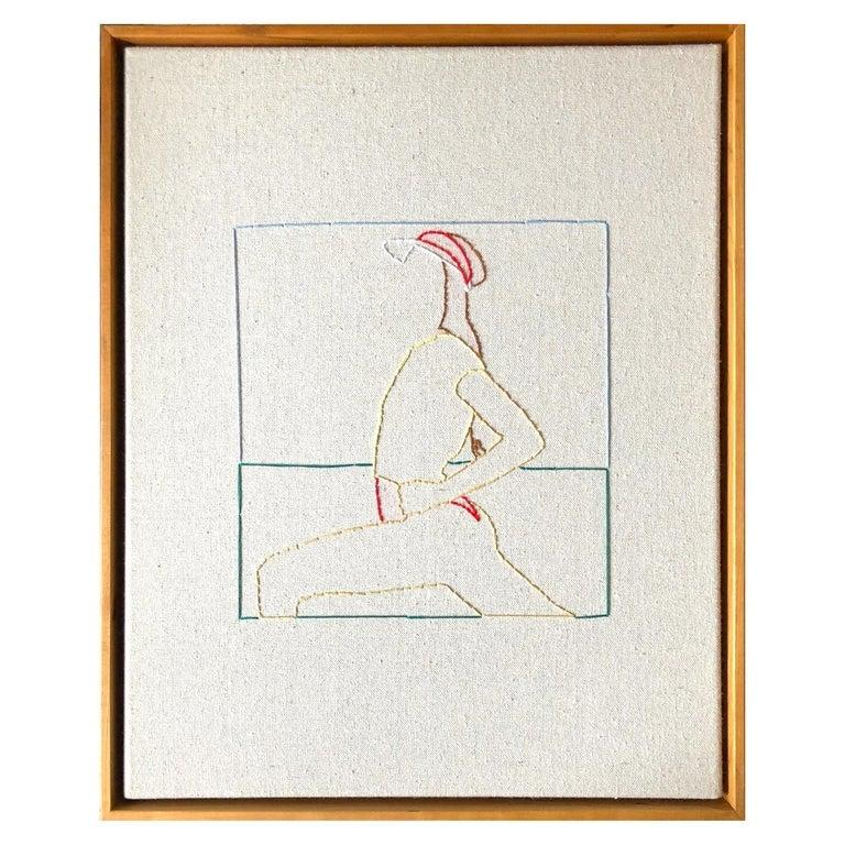 Handstitched canvas, thread. Wood cherry frame Each artwork dimension is 20 in. H x 16 in. W One of a kind  Casey Waterman was born and raised in a small rural town in New Hampshire. With over a decade of culminated work, his process and
