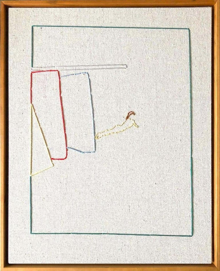 Modern Lawn Tennis Diptych Hand Stitched Canvas, Framed on Cherrywood For Sale