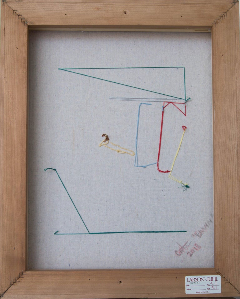 Hand-Carved Lawn Tennis Diptych Hand Stitched Canvas, Framed on Cherrywood For Sale