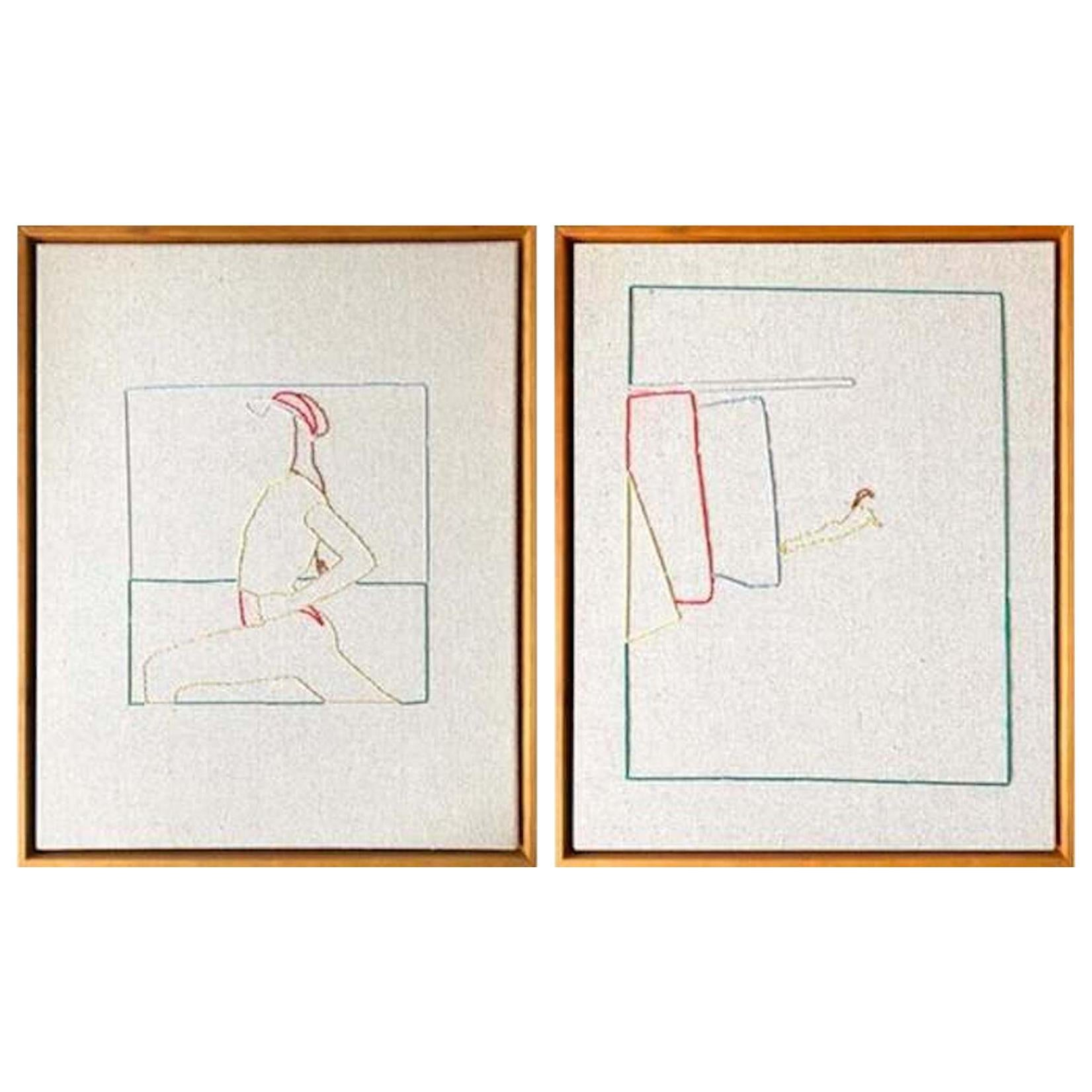 Lawn Tennis Diptych Hand Stitched Canvas, Framed on Cherrywood