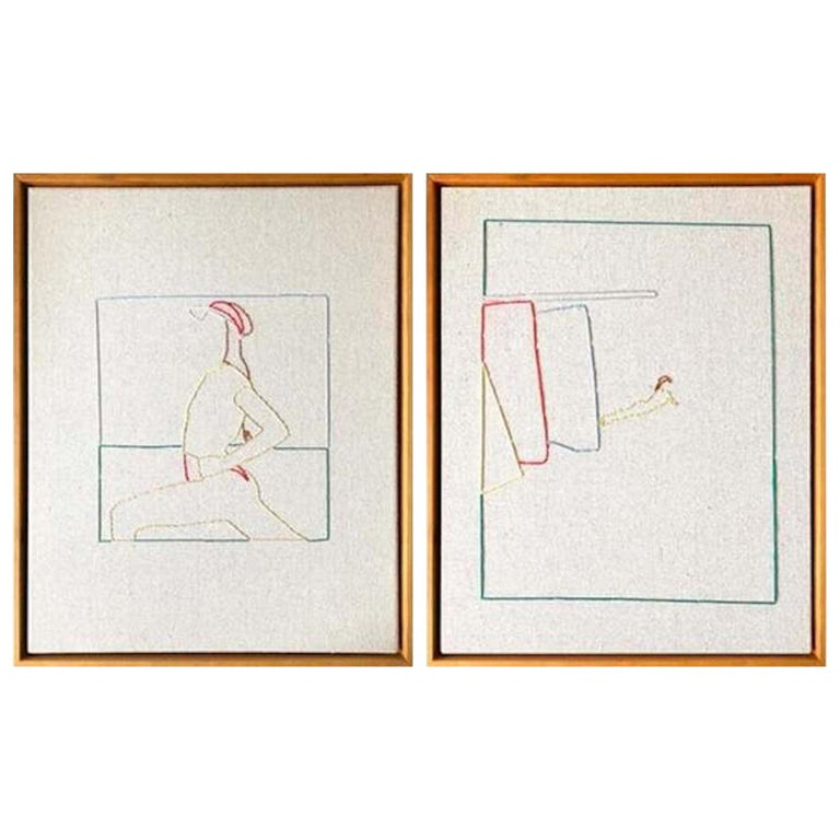 Lawn Tennis Diptych Hand Stitched Canvas, Framed on Cherrywood For Sale