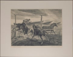 """Horse Wrangler,"" Original Black & White Lithograph by Lawrence Barrett"