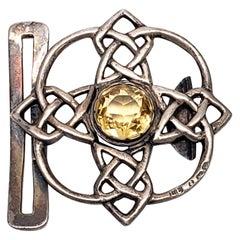 Lawrence Emanuel Sterling Silver Citrine Celtic Belt Buckle