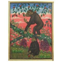Lawrence Lebduska American Folk Art Painting with Monkeys